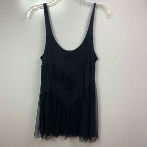 Free People tank dress mini black scoop neck mesh